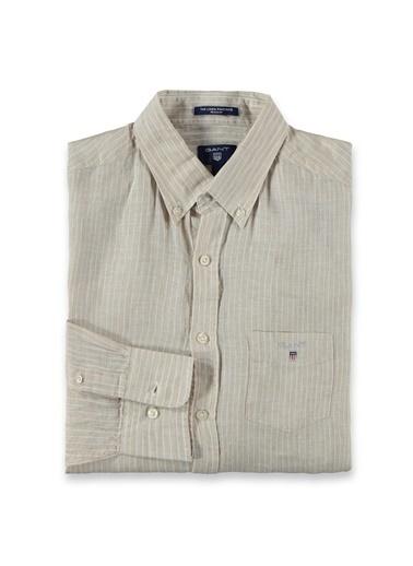 Gant Çizgili Regular Gömlek Bej